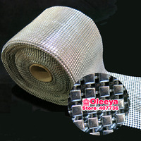 Silver plastic rhinestone mesh trimming with square Spikes Rivets 10yard/ roll free shipping for garment bag shoes