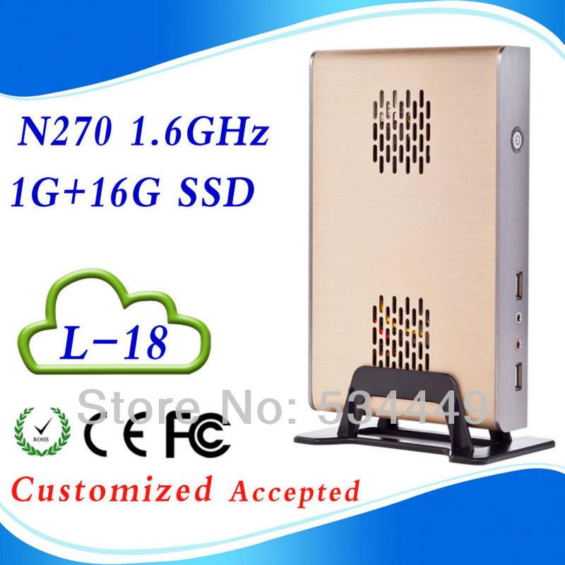 Thin mini itx embedded pc pc stations 2g ram 16g ssd INTEL ATOM N270 1.6 GHZ Support WIN7, Linux,Windows XP 6*USB 2.0(China (Mainland))
