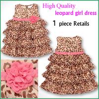 New design dresses for 2014 Summer fashion sleeveless girls dresses Korean style leopard pattern children one-piece clothing