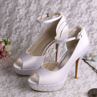 Hot Selling White Satin Wedding Shoes for Bride with Rhinestone Heel 12cm Heel Size 10 Free Dropship