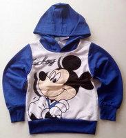 Children's clothing 100% cotton fleece male child cartoon with a hood sweatshirt outerwear