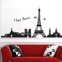 5set I Love Paris Living Room Vinyl Wall Art Decals Eiffel Tower Decoration Kids Bedroom 3D Wall Stickers Large Wallpapers Decor
