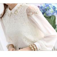 2014 autumn women's ol top lace shirt long-sleeve basic chiffon shirt