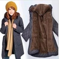 2013 winter plus size cotton-padded jacket wool line warm women parka jacket 4XL 5XL 6XL loose cotton padded loose  coat