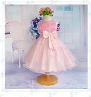 NEW (2-6yrs) beautiful baby dress with flowers girl party dresses children dresses free shipping pink