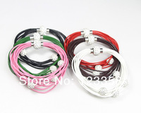 Min.order $10 Mix order 3pcs Leather Shamballa CZ crystal ball bracelets hot Clasp Magnetic bangle cuff