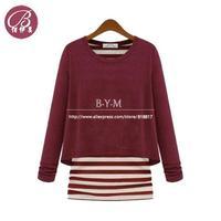 BAIYIMEI Brand European Style Women 2013 New Winter Cotton Striped shirt Blouses Black Tops Blusas Femininas Free shipping