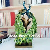 Traditional Chinese Style Custom Decorative Polyresin Peacock Pair Craft Furnishing Embellishment for Wedding and Room Decor