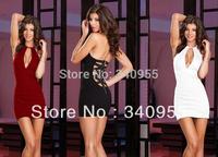 New Fashion 2014 Elegant V-neck Sleeveless Backless Bandage Stretch Slim Temperament Charm Sexy Club Mini Women Dresses