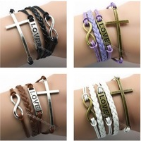 7pcs handmade multilayer combination chunky leather rope Infinity  Love friendship Cross charm bracelet mix color