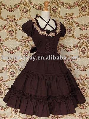 guaranteed 100% Cotton brown & beige lace ruffle gothic lolita free shipping Dress(China (Mainland))