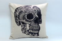Wholesale cool skull linen cotton sofa cushion pillow cover cushion decoration cushion cover, free shipping