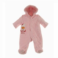 Retail 2013 New 100% cotton Baby girl Winter Romper Carter thick quilted velvet bag foot romper climbing clothes pink 6M-18M