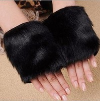 2 pieces/lot New 2013 Fashion Women Fur Glove Women Fingerless Mittens Iglove Winter Gloves 6 Color Fast Shipping