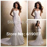 Beautiful Chiffon and Lace Mermaid Casual Sweetheart Wedding Dresses 2015 Bridal best selling dresses