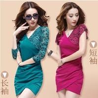 2013 lace dress V-neck slim hip ol elegant white collar one-piece dress, long-sleeve/ short-sleeve