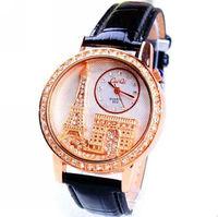 Women Wristwatch 2014 New Fashion Crystal CZ Diamond Dress Watch Full Rhinestone Eiffel Tower Leather Quartz Watch Casual Watch