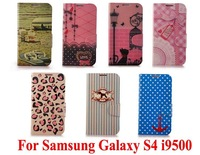 New popular Cute Fashion design printing PU Leather Stand Wallet Bag Cover For  Samsung Galaxy S 4 i9500 magnetic flip cases