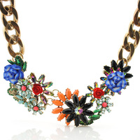 New Items 2014 fashion neon color flower cute brand choker pendant necklace statement vintage body collar chain design jewelry