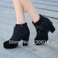 2013 fall new high-heeled short boots bow high heels waterproof boots