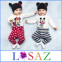 Christmas Winter Brand Newborn Unisex Mickey Baby Bodysuits Kid Minnie Cotton Long Sleeve Rompers Baby Clothing Free Shipping