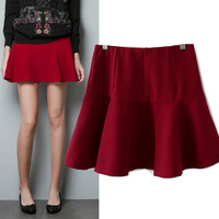 Autumn New Fashion 2013 High Waist Brand Ladies Skirts Womens Black Red Drop Shipping