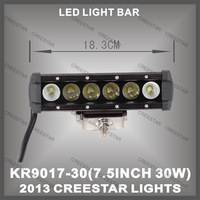 7.5inch 30w LED light bar cree led 4x4 light bar for 4x4 offroad  2100 lumen KR9017-30
