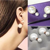 2014 New Fashion womens 18k gold fine Jewelry double side big pearl Zircon Stud Earrings woman earring for women jewelry