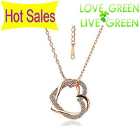 Free shipping Hot Sell Wholesale Factory Sale Directly Price 18K GP Crystal Heart Pendant Charm Necklace fashion Jewelry K157