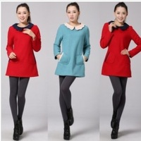 High quality ladies and Korean loose and long sleeve winter Vintage Lace Baby Doll collar wool dress