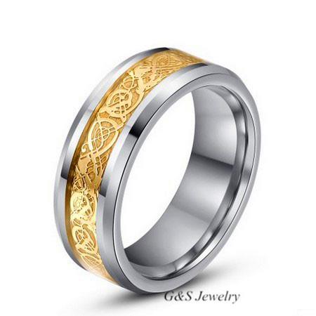 ... de tungstène bague celtique dragon, mens bijoux bague de mariage en