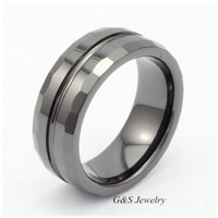 G&S Jewelry Comfort Fit Shiny Beveled-edge Ceramic Rings 6mm Mens/4mm Ladies Anniversary/engagement/wedding Bands G&S008CR