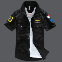 Free shipping men's summer fashion military style short shirt, Air Force One Casual Slim shirt for man. X9