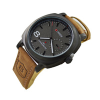 2014 Hot Original Brand Fashion Curren Man Watch Genuine Leather Strap Clock Military Male Sport watches reloj gracias