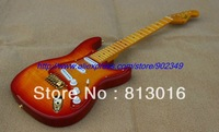 Free shipping Cherry sunset color S-S-S 3 Pickups OEM electric guitar with tigerflame pickguard!