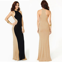 Women's Slimmig Optical Illusion Contrast Color Block Bodycon Long Maxi Evening Party Dresses