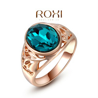 ROXI Christams Gift Classic Genuine Austrian Crystals Sample Sales Rose Gold  Plated Blue Stone Ring Jewelry Party OFF