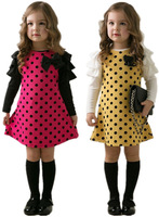 B146 Fashion New Casual Korean Style Girls Polka Dot Princess Long Sleeve Cotton Dress 2-7Y Clothes Drop Shipping Red Yellow
