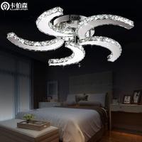 free shipping Fan ceiling light led bedroom lights living room lamps crystal lamp stainless steel lighting
