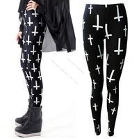 2013 Hot sale New Personality Casual Women Ladies Black Cross Print Full Length Skinny Leggings Pants 15628 Z