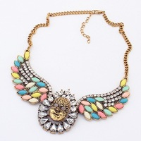 Gold Face Wing Drop Gemstone Shorts Choker Statement Necklaces 2013 New Fashion Vintage Jewelry Gift For Women Wholesale Hot N24