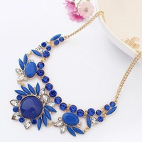 Gold Geometry Gemstone Drop Shorts Choker Statement Pendants Necklaces 2013 New Fashion Jewelry Gift For Women Wholesale N28