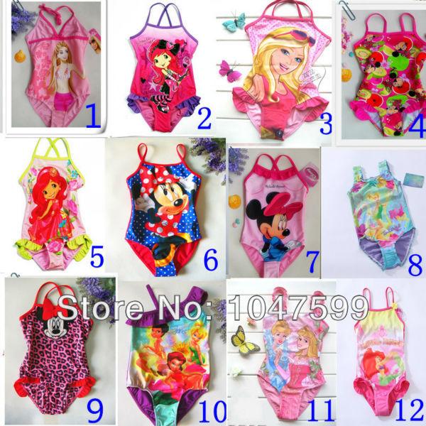 Free Shipping for 1-10years,Tinker bell Princess Barbie Dora children/girl/kids' swimsuit/swimwear/bikini/swimming wear RT01(China (Mainland))