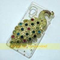1 Pcs Handmade Bling Diamond Peacock Clear Transparent Hard Back Case Cover For LG Optimus L5 II E460 E450