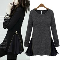 cotton wool blend zipper chiffon ruffles long sleeve plus casual mini dress sweater women tops new fashion 2013 autumn L0341584
