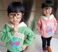 2013 New korea fashion girls tops children garment 2 color winter long sleeve clothes kids hoodies cute outerwear dkalch37