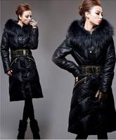 Sale!!! Royal cat Women's Down Coat Long Design Hood Thickening Slim Fashion Natural Fur Collar luxury large Free Ship