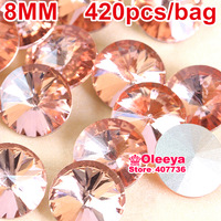 Gold Champagne Color Rivoli Fancy Stone Point Back Glass Crystal Stone For Jewelry Making 8mm,10mm,12mm,14mm,16mm,18mm