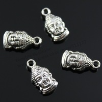 30pcs/lot 16*8mm 2 Colors Antique Bronze, Antique Silver Lovely Buddha Head Charms Pendants