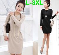 L-3XL 3 Colors Women Plus Size Long Sleeved Korea Style Slim Knee Length Spring Autumn Dress Brand Elegant OL Dresses Dropship